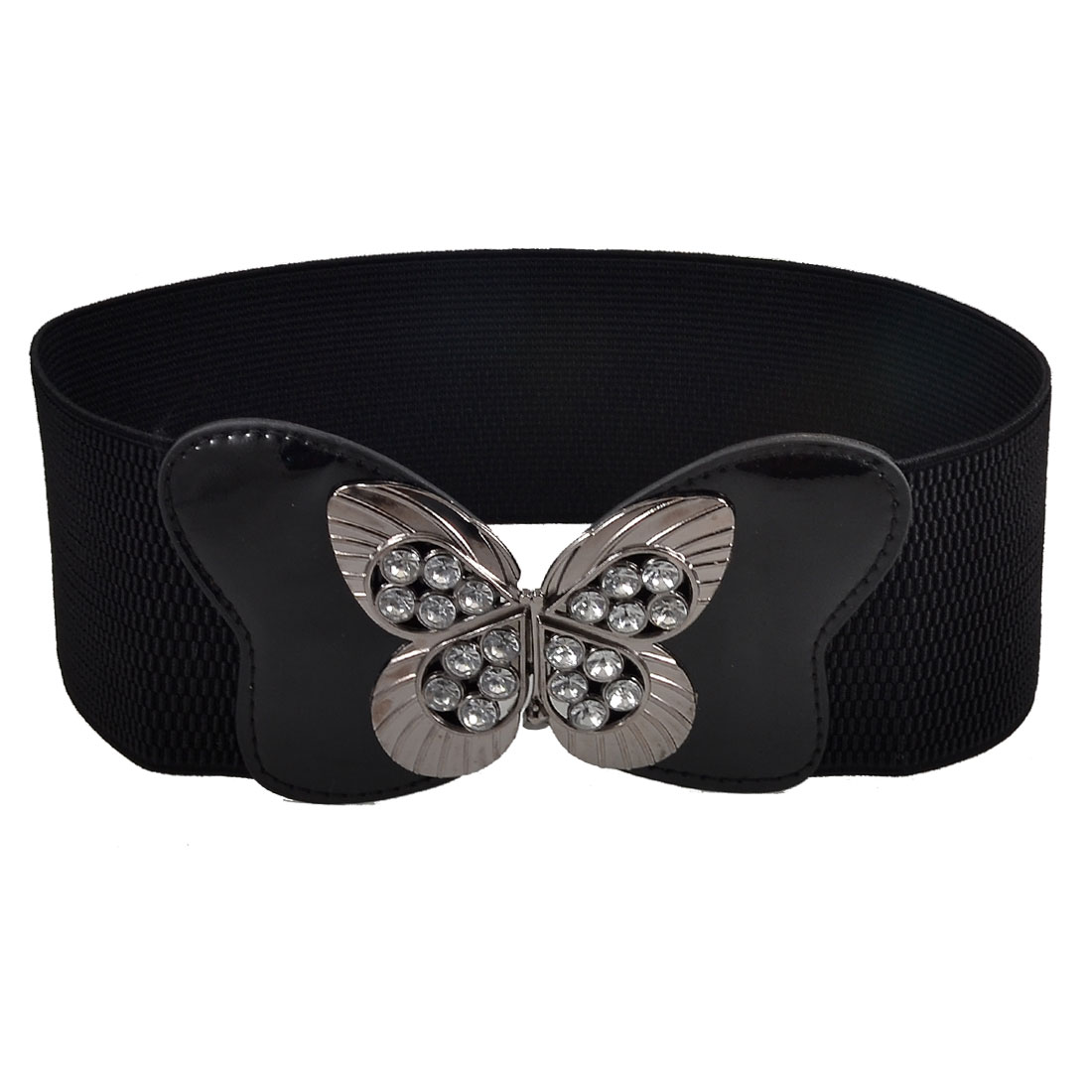 Ladies Hollow Butterfly Buckle Rhinestone Inlaid Black Elastic Waist Belt
