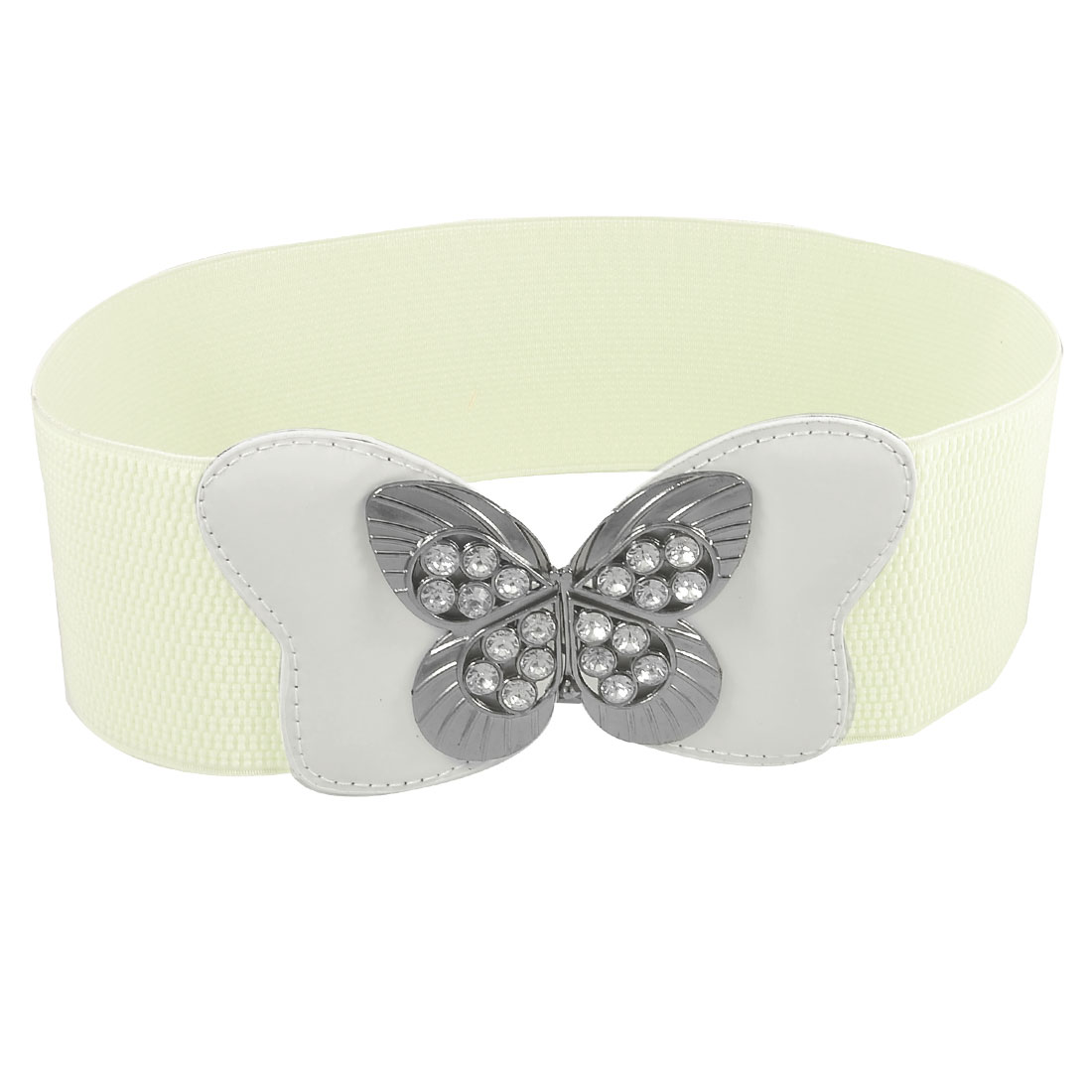 Women Hollow Butterfly Buckle Rhinestone Inlaid White Stretchy Waist Belt