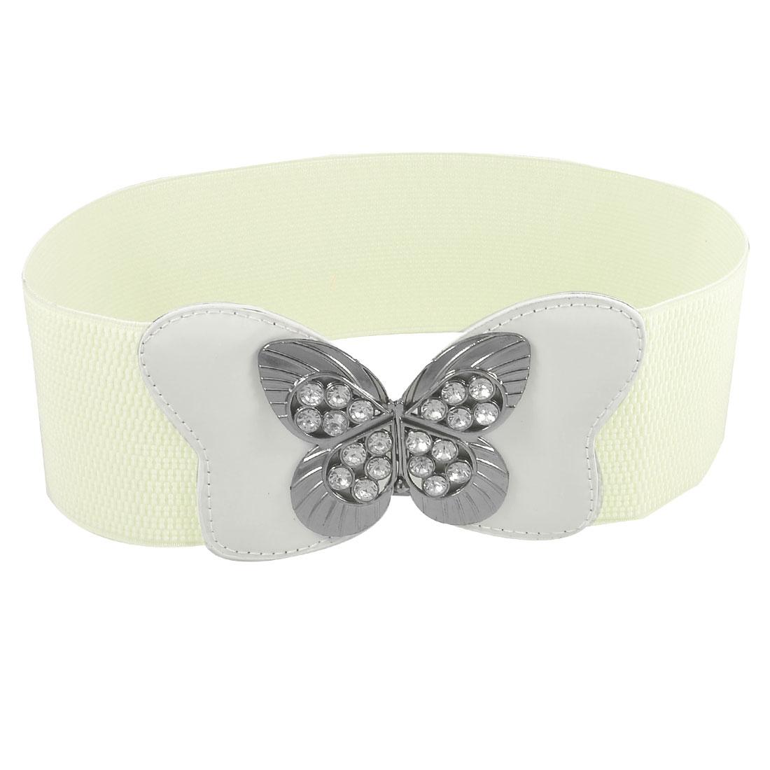 Women Hollow Butterfly Buckle Rhinestone Inlaid White Stretchy Waist Belt