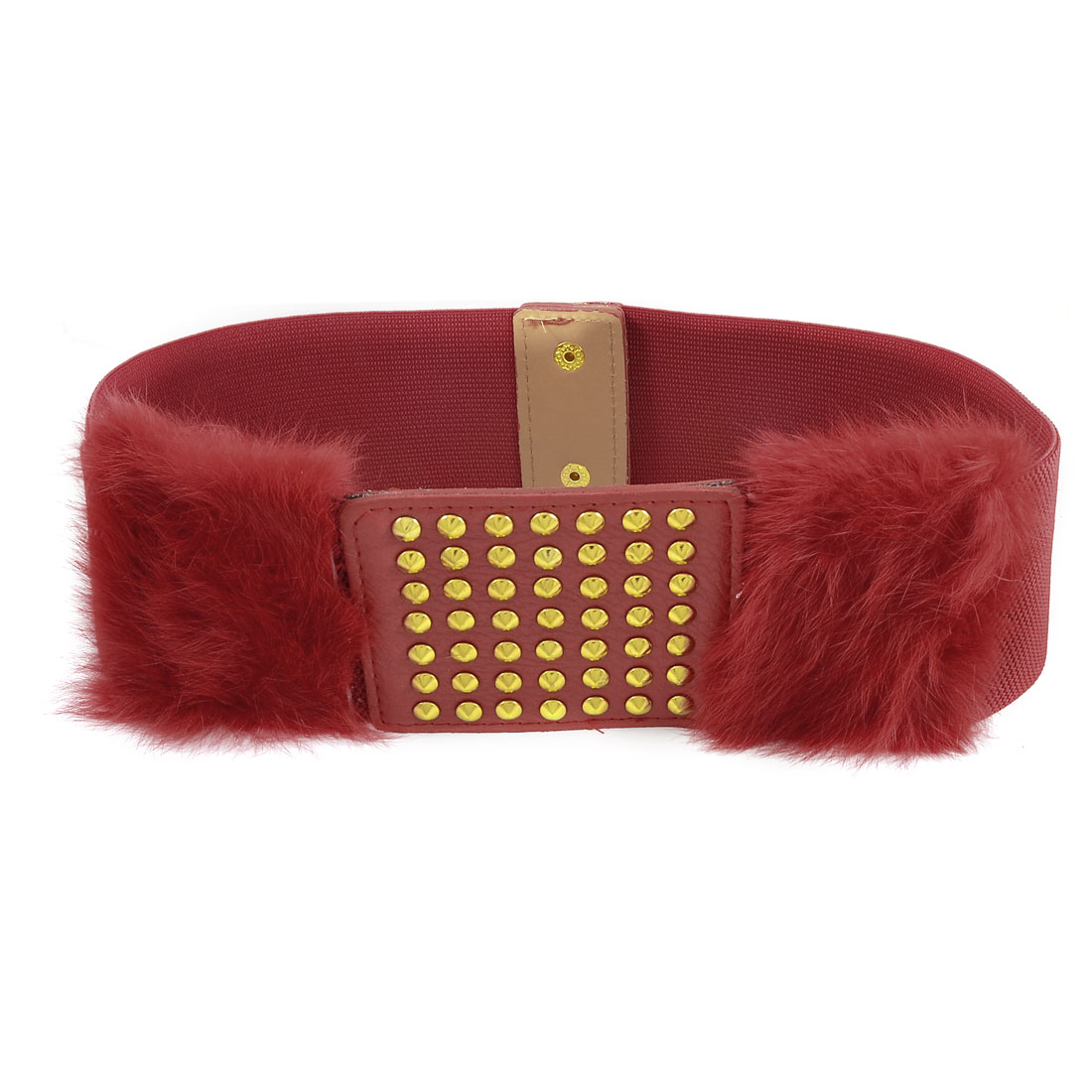 Gold Tone Studs Decor Faux Fur Red Stretchy Belt Waistband for Women