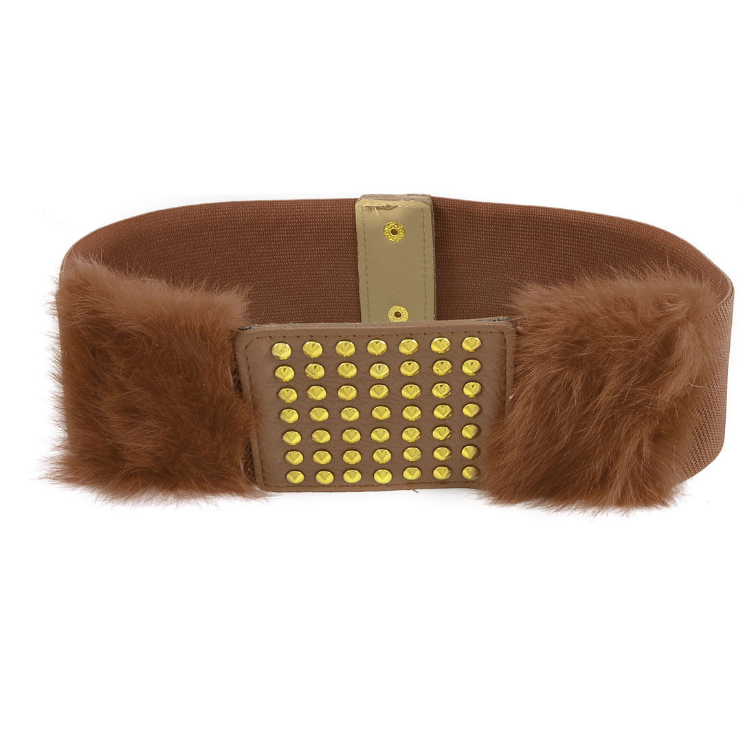 Gold Tone Studs Accent Faux Fur Brown Stretchy Waistband Belt for Lady