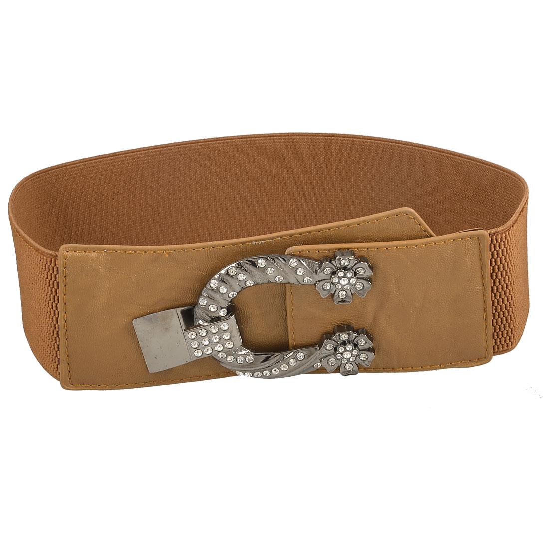 Lady Woman U Type Metal Hook Buckle Closure Stretchy Waist Belt Waistband