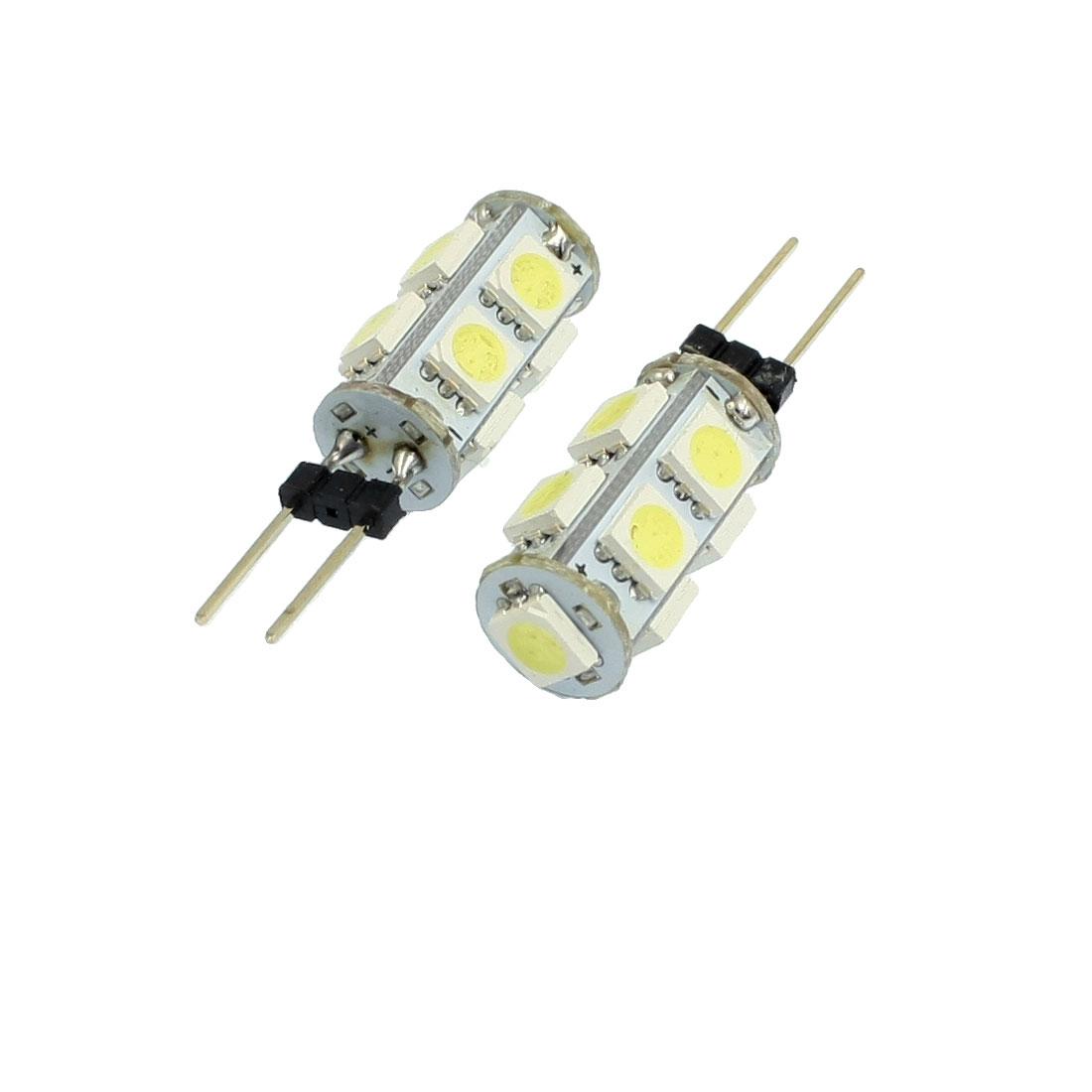 2 Pcs Car G4 White 5050 SMD 9-LED Bulb Light Dashboard Lamp