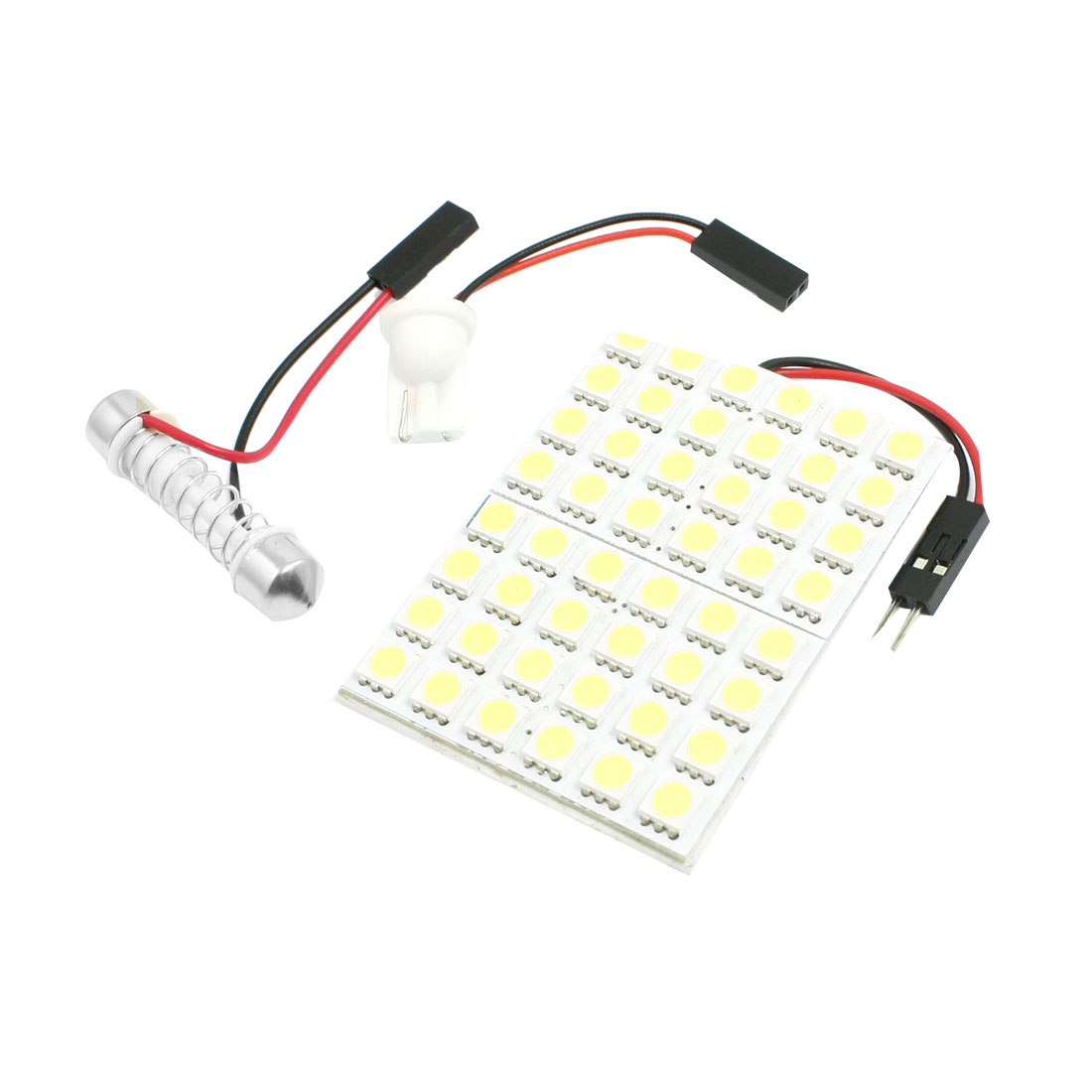 Car White 5050 SMD 48-LED Dome Light Lamp w T10 Festoon Adapter