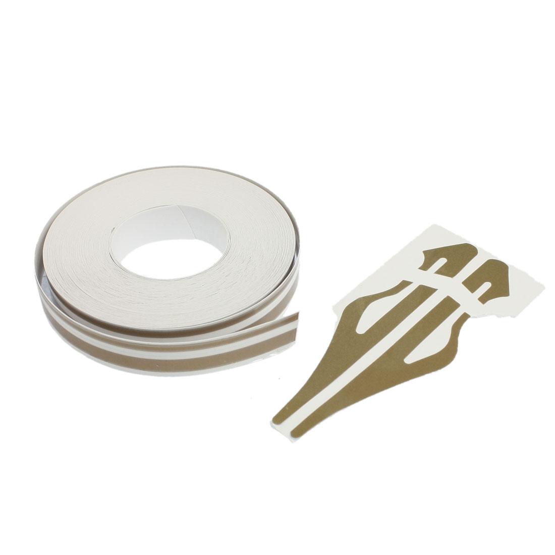 12mm x 9800mm Gold Tone White Car Auto Adhesive Tape Stripe Sticker