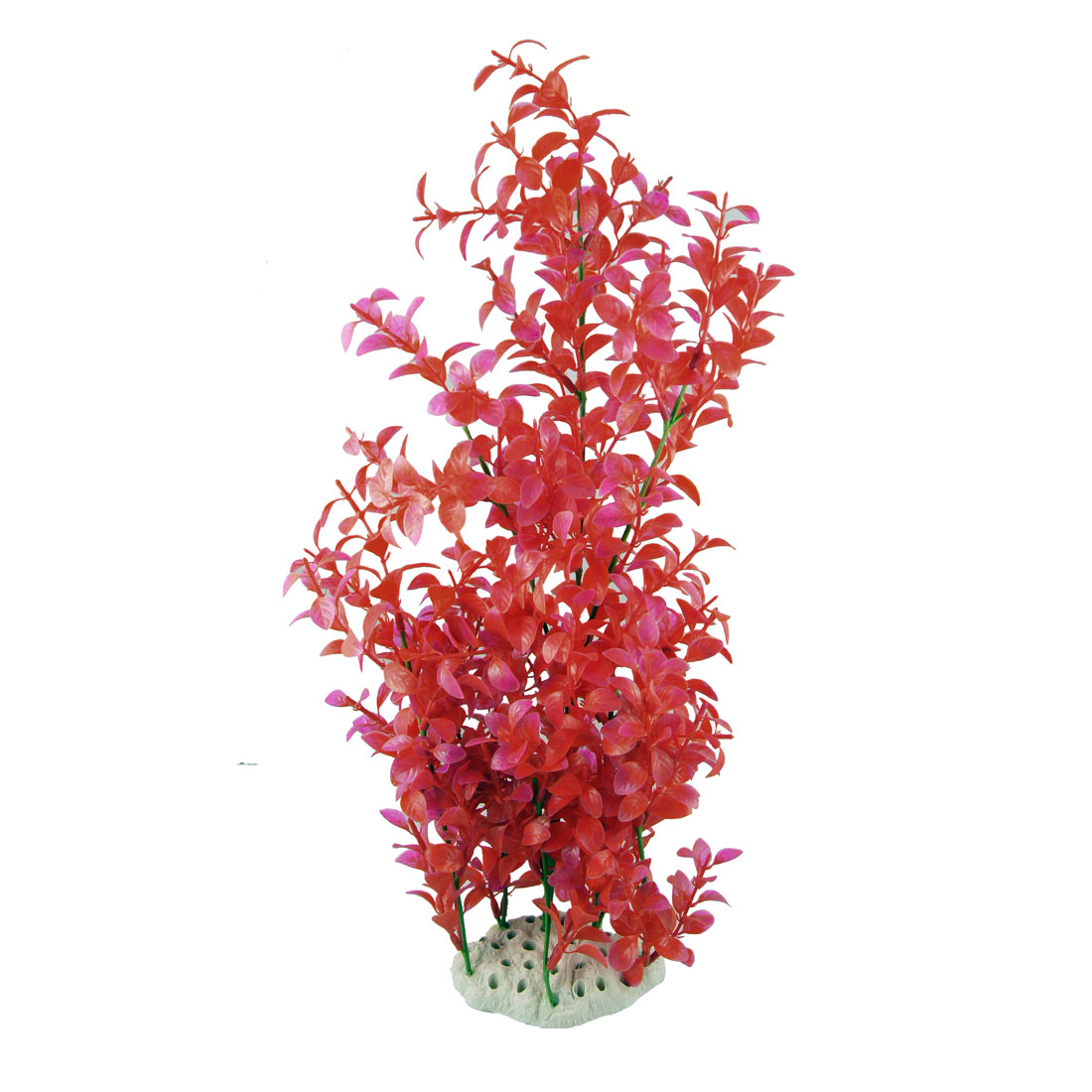 "Aquarium Decor 19.7"" Red Fuchsia Simulated Tree Water Grasses w Ceramic Base"