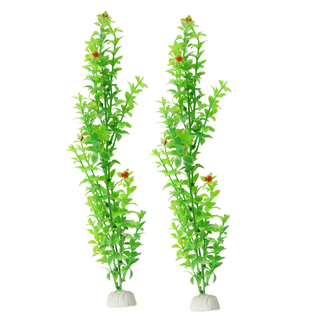 Ceramic Base Green Round Leaves Grass for Aquarium Decor 2 Pcs