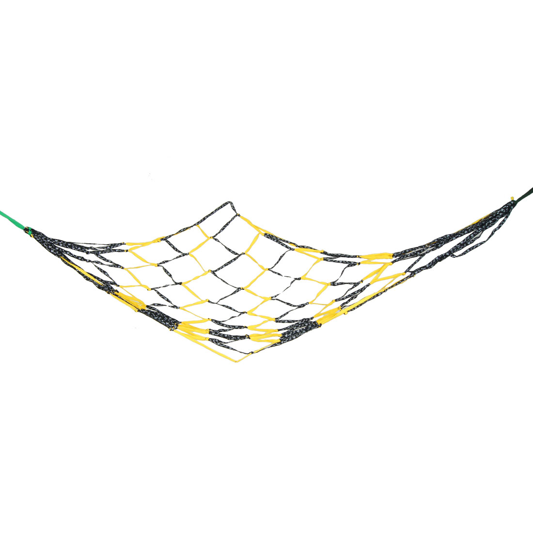 2.1M x 1.8M Swing Mesh Sleeping Bed Hang Hammock Black Yellow for Traveling