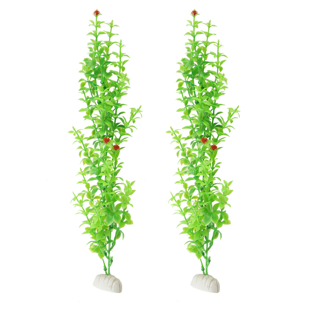 "2 Pcs Fish Tank 13.8"" Height Artificial Green Grass w Red Flower"