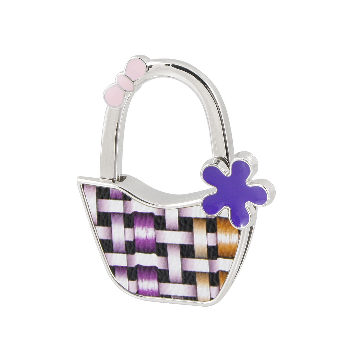 Purple Faux Leather Metal Check Pattern Bag Shaped Foldaing Handbag Hook Hanger