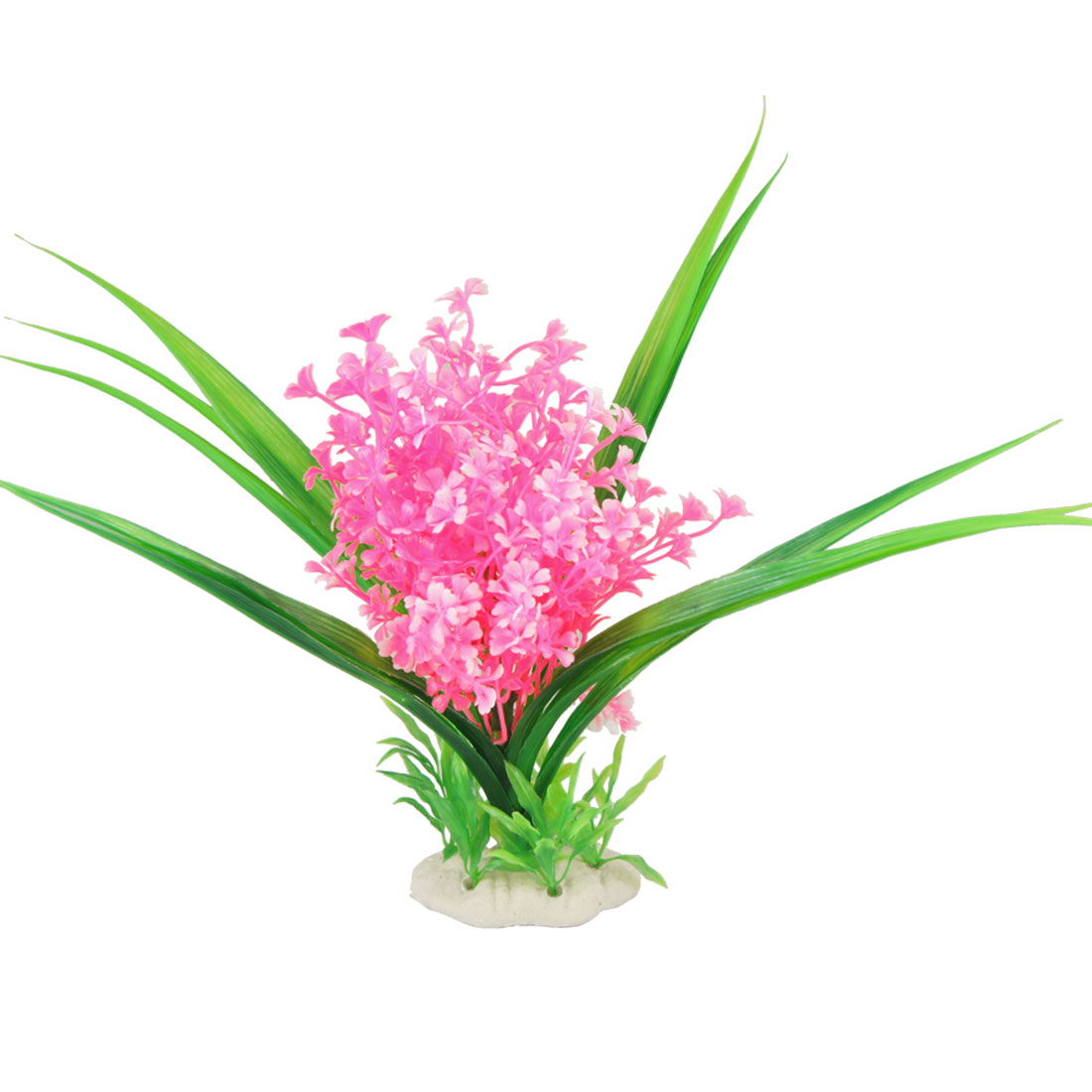Ceramic Base Green Long Leaves Pink Flowers Grass for Aquarium Decor