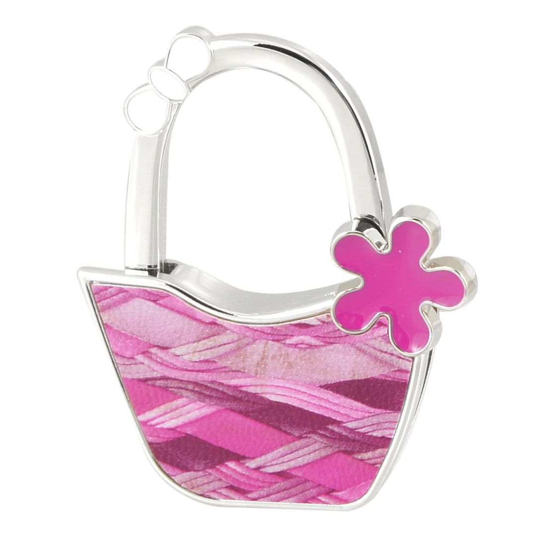 Silver Tone Fuchsia Metal Check Printed Bag Shaped Folding Handbag Hook