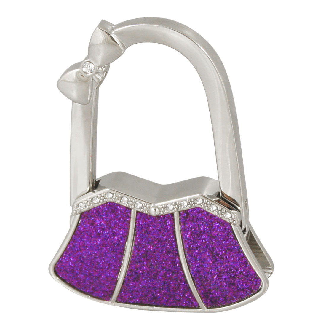 Bowknot Decor Glitter Purple Bag Shaped Foldable Handbag Hanger Hook