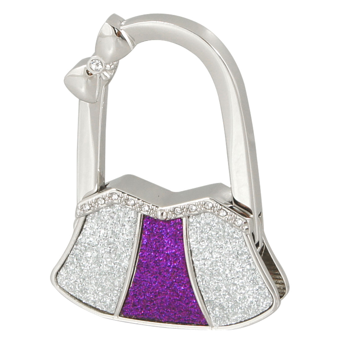 Glitter Purple Silver Tone Metal Bowknot Decor Bag Shaped Folding Handbag Hook