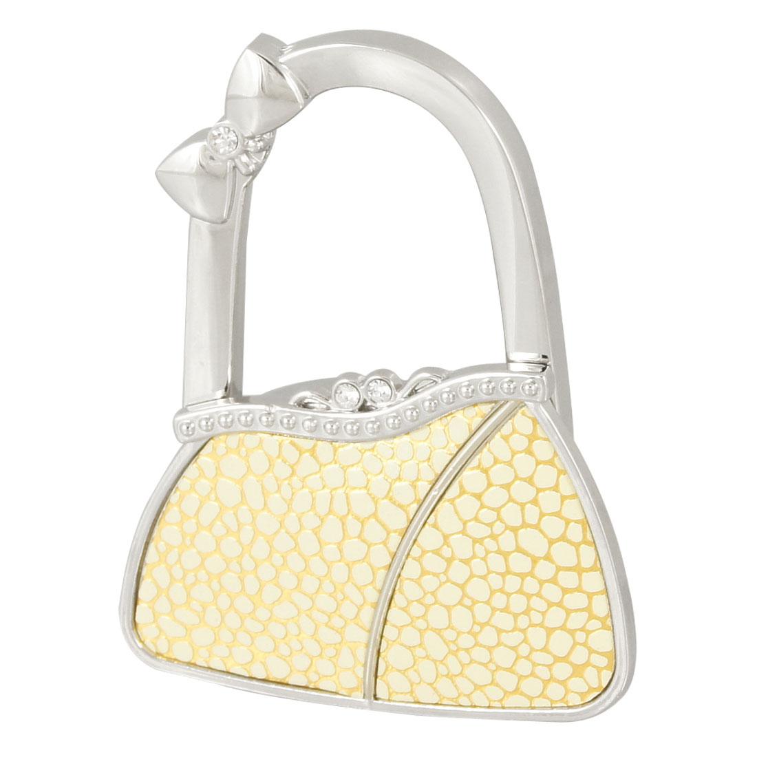 Silver Tone Beige Metal Bowknot Accent Bag Shape Folding Handbag Hook