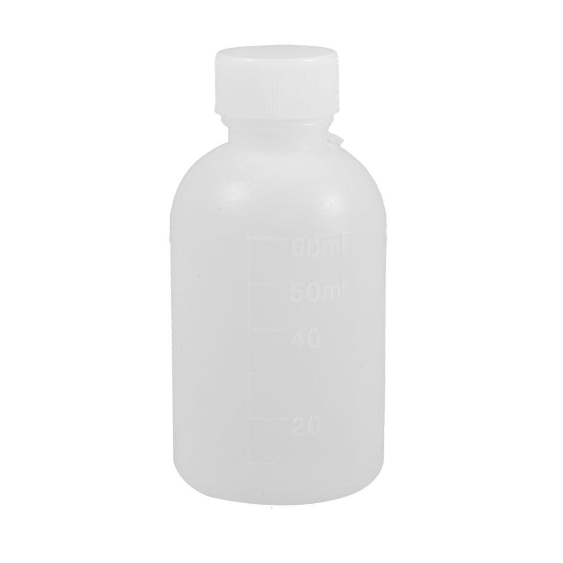 60mL Capacity Cylinder Body White Plastic Lab Measure Bottle