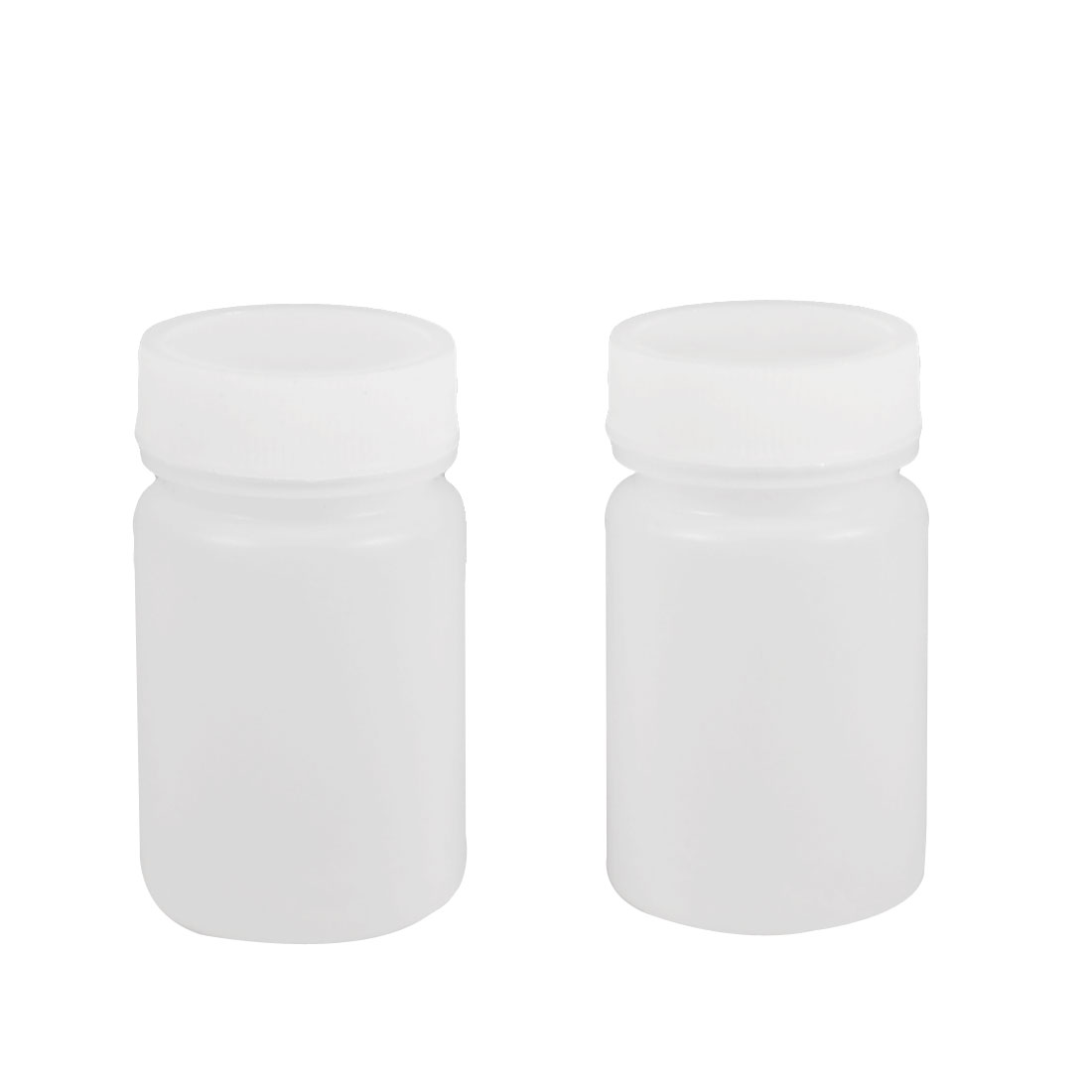 50ml White Plastic Cylinder Shaped Chemical Reagent Bottles 2 Pcs