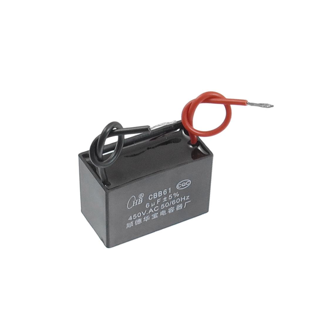 CBB61 AC 450V 6uF Rectangle Non Polar Motor Capacitor
