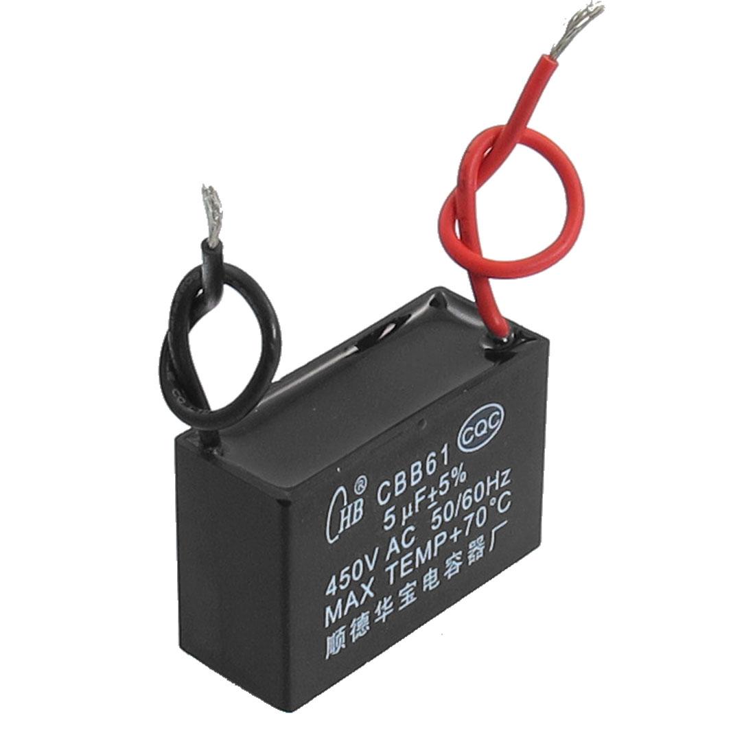 CBB61 450VAC 5uF 5% Red Black Wire Motor Run Capacitor