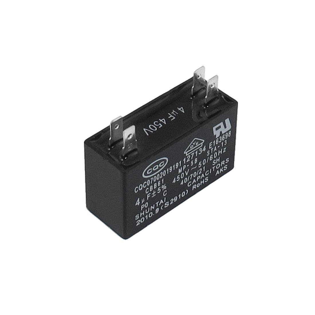 Polypropylene Film AC Motor Run Capacitor 4 Terminals 4uF 5% 450V CBB61