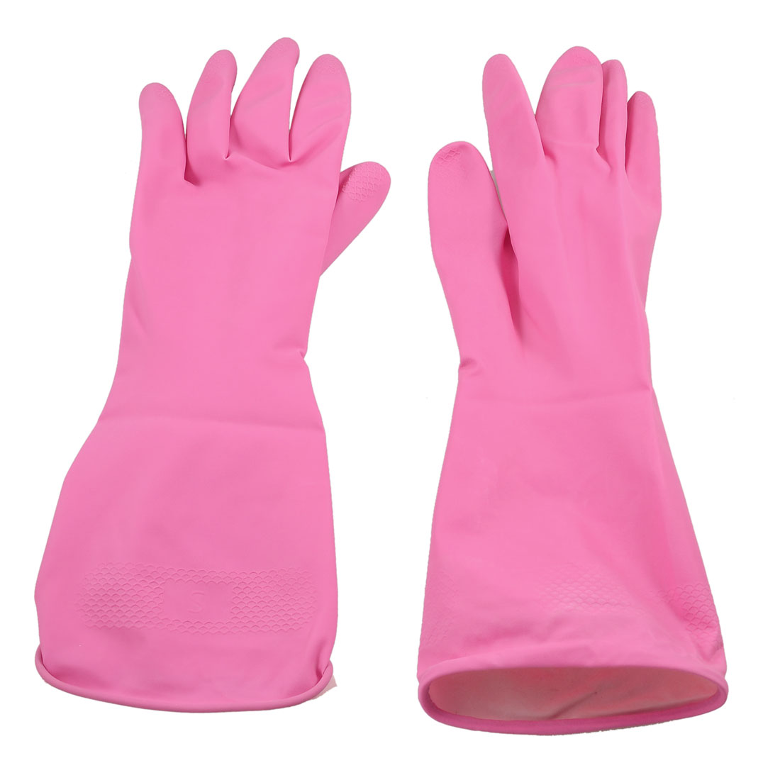 2 Psc Household Antislip Rose Pink Clean Wash Latex Gloves