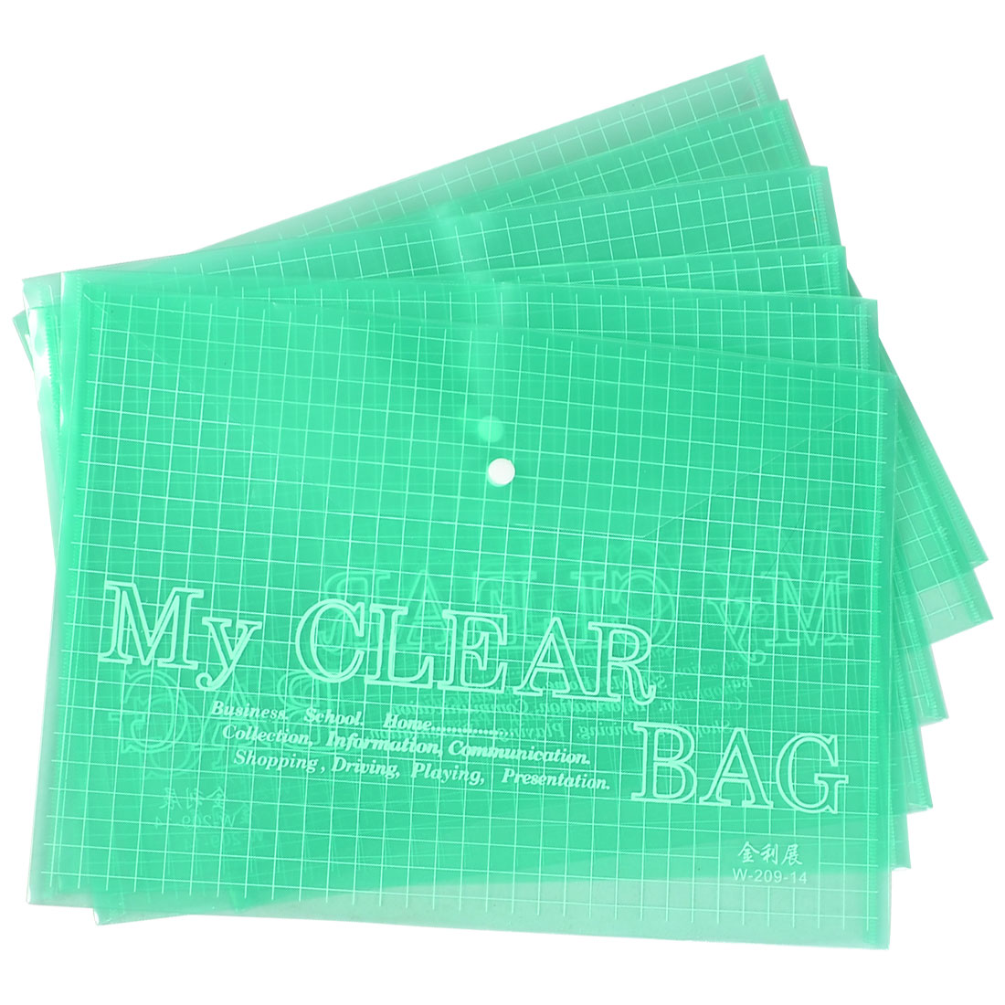Letter Plastic A4 Document Organizer File Bag Holder Snap Button Clear Green 6pcs
