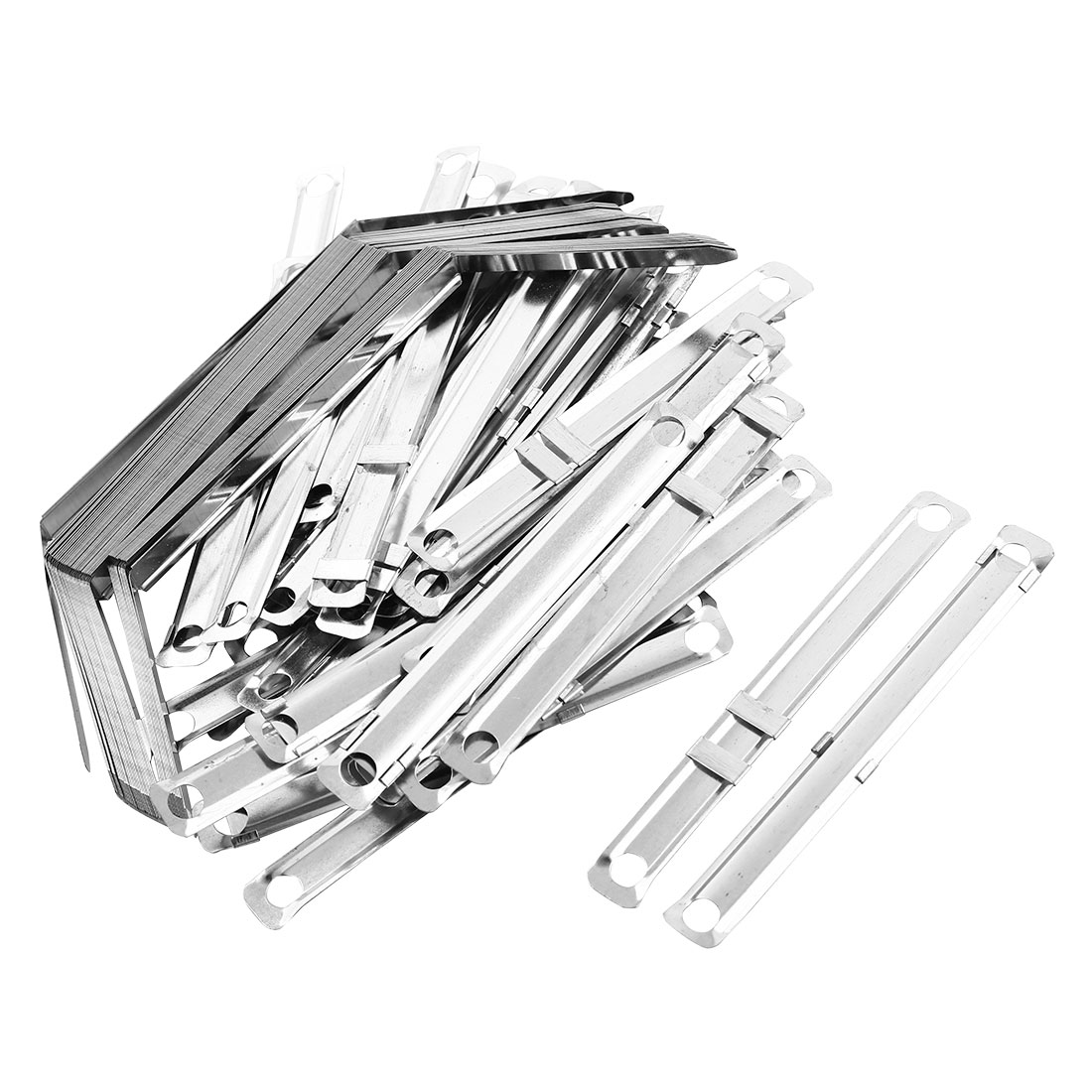 40 Sets Silver Tone Metal Prong Documents Files Clip Paper Fasteners