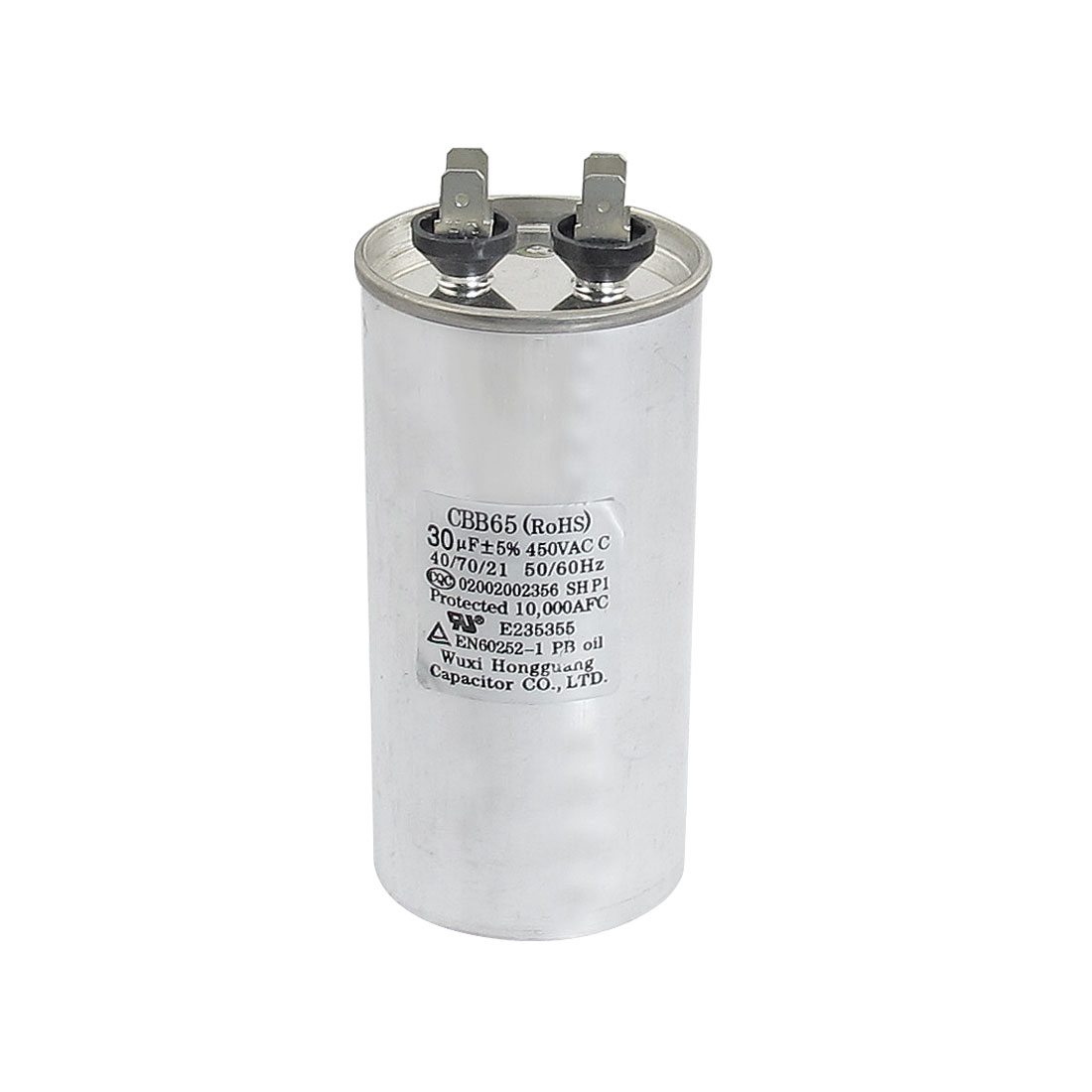 CBB65 Polypropylene Film Lug Terminals Motor Capacitor 450VAC 30uF 5%