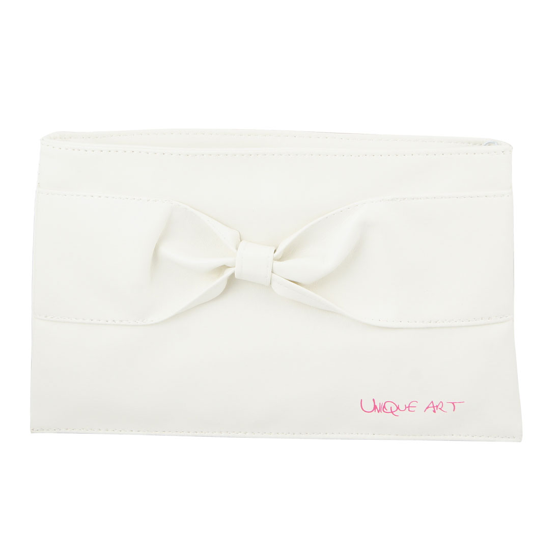 White Faux Leather Bowknot Accent Zipper Closure Carrying Makeup Bag