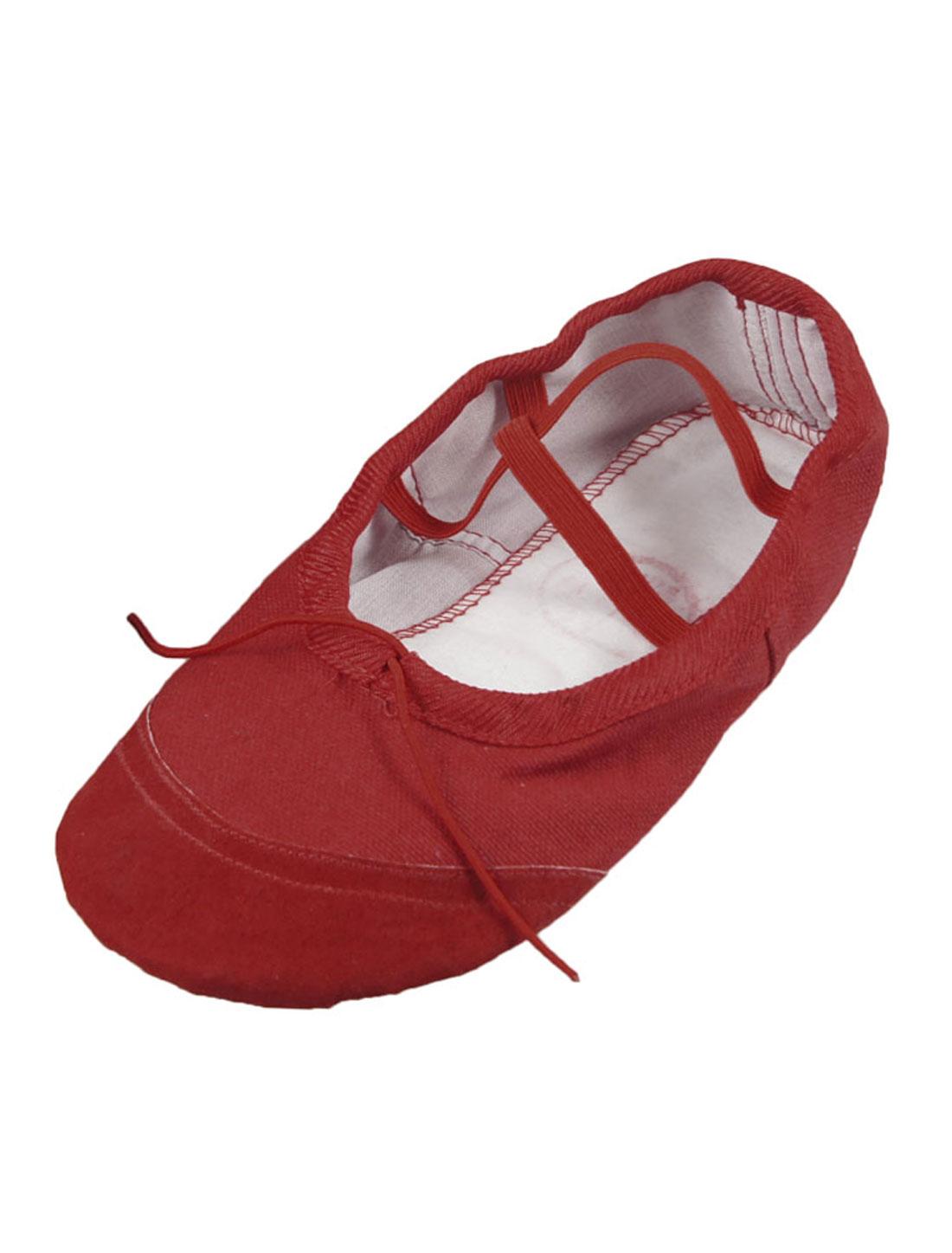 Women Red Split Sole Drawstring Top Ballet Dancing Flats Shoes EU 34