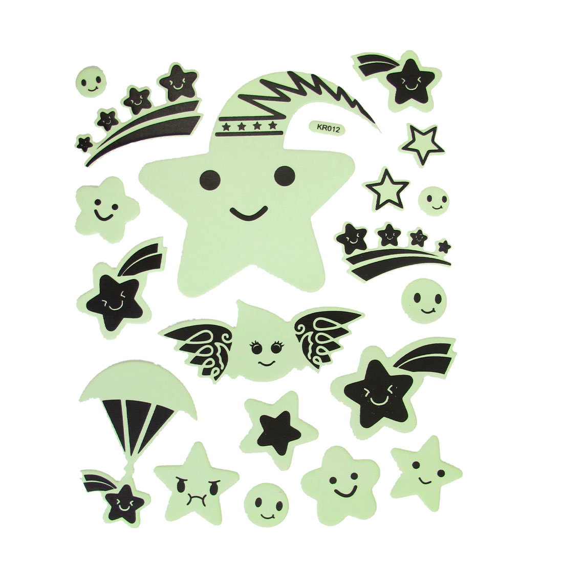 19 Pcs Cartoon Clound Stars Smilling Face Shape Luminous Stickers Wall Decor