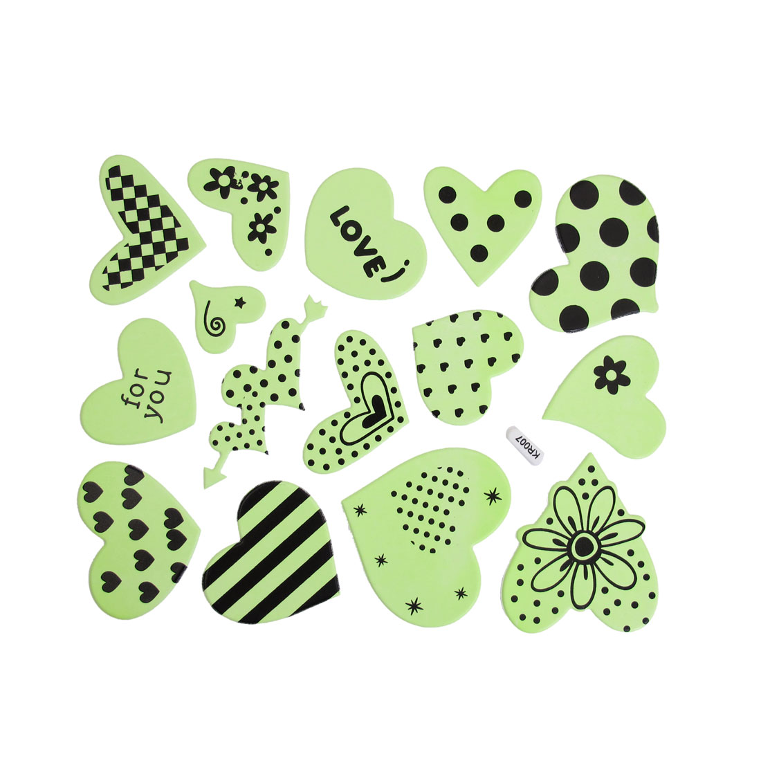 15 Pcs Light Green Black Multi Hearts Shape Luminous Stickers Wall Decor