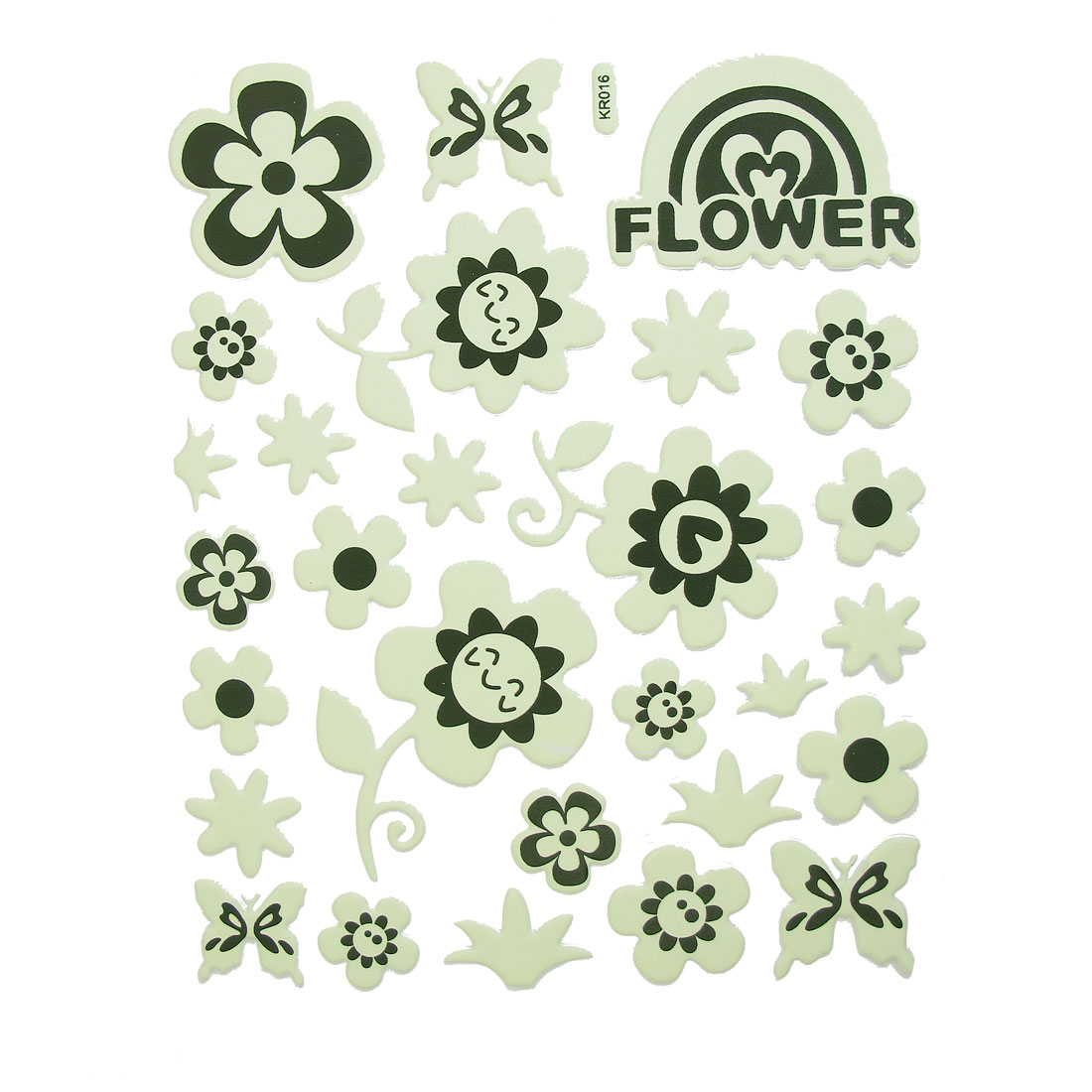 28 Pcs Light Green Black Multi Flower Butterfly Shape Luminous Stickers