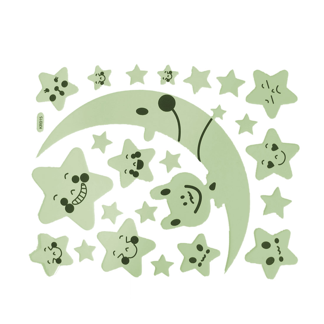 23 Pcs PU Leather Moon Stars Shape Luminous Stickers Wall Decor Light Green Black