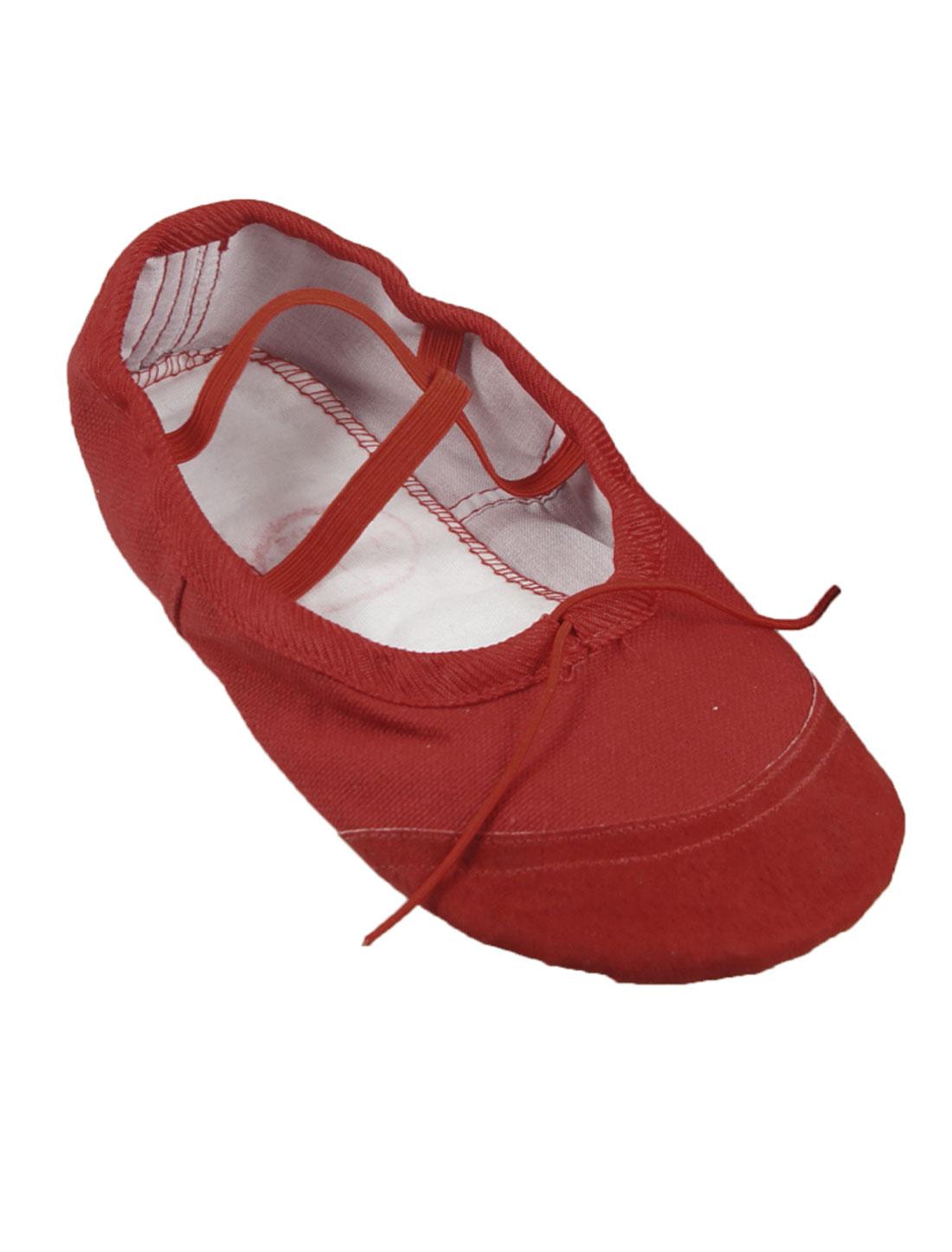 Women Split Sole Red Drawstring Top Ballet Dancing Flats Shoes EU 36