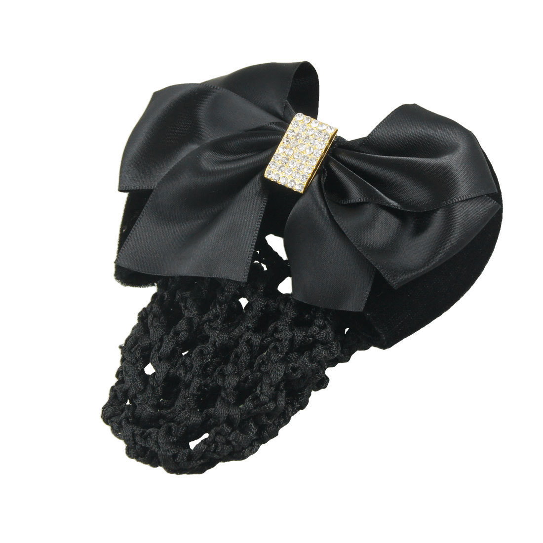 Rhinestone Inlaid Nylon Polyester Bowknot Detail Snood Hair Clip Black