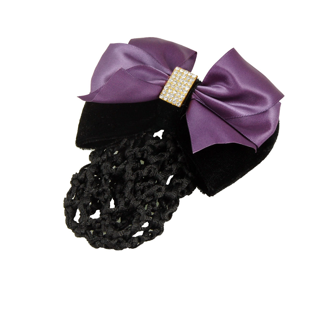 Rhinestone Inlaid Centering Nylon Polyester Bowknot Decor Snood Hair Clip Purple