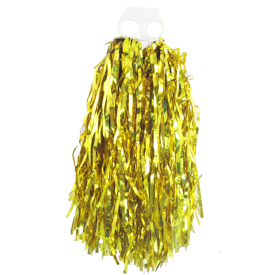 Youth Costume Cheer Leader Handle Pom Poms Shakers Gold Tone Plastic