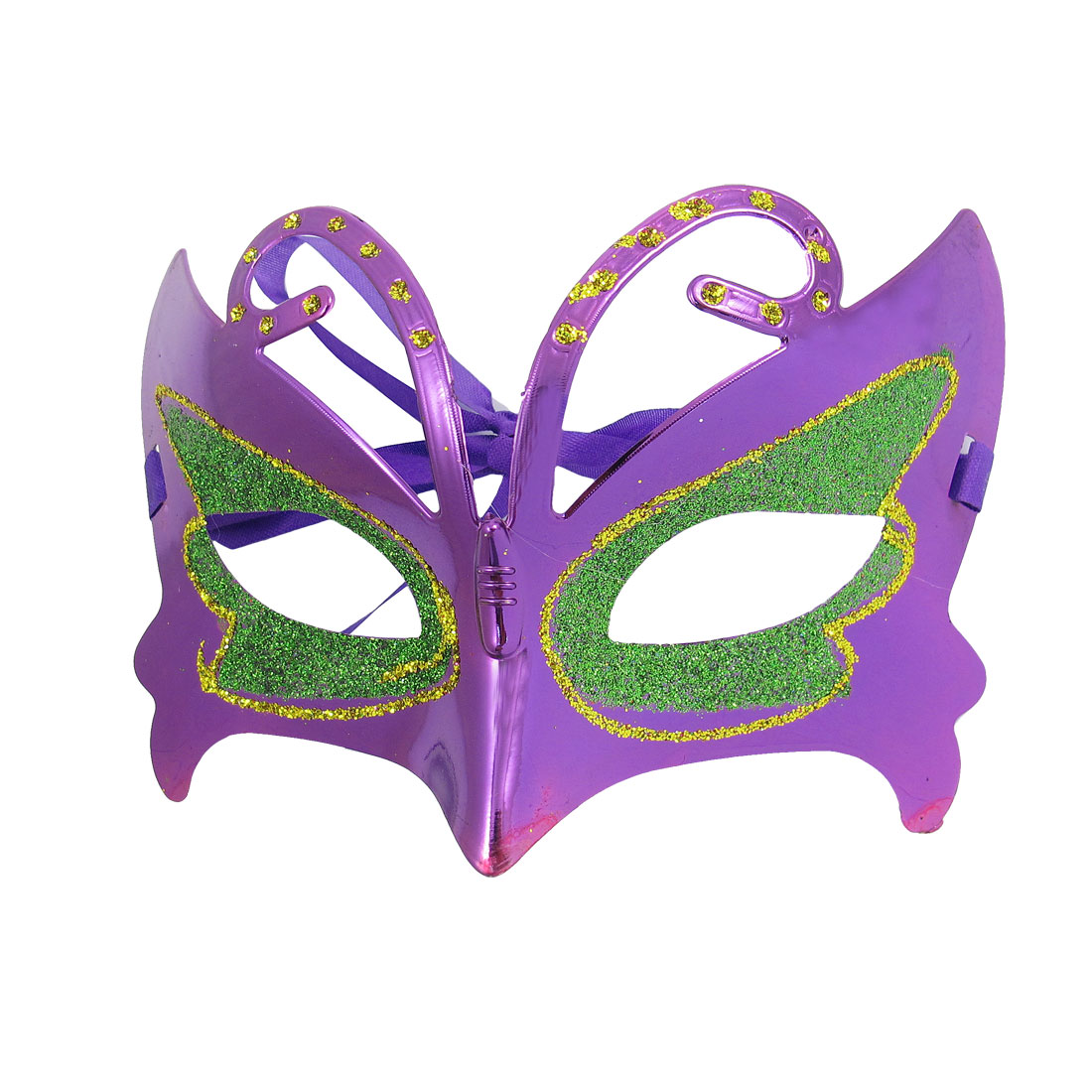 Woman Carnival Halloween Green Glitter Powder Eye Self Tie Strap Masquerade Mask Purple