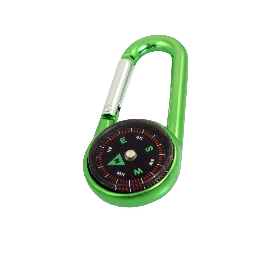 "Hiking Aluminum Alloy Snap Hook Compass Carabiner Green 2.7"" Long"