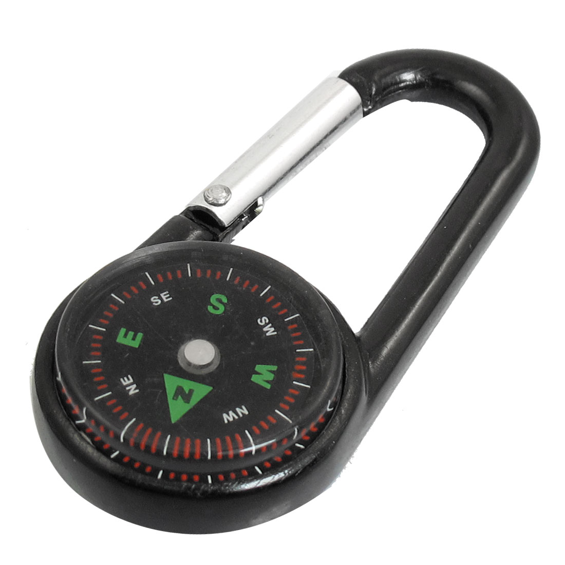 Black Aluminum Alloy Spring Loaded Gate Compass Carabiner Hook Clip