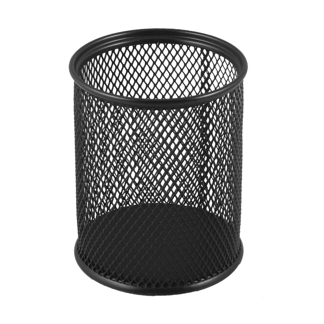 8cm Dia Cylinder Shaped Mesh Style Black Metal Pen Ruler Pencil Holder