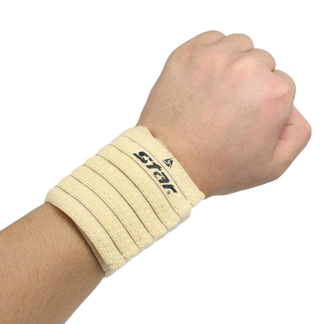 Sporter Athlete Hook Loop Elastic Sports Wrist Support Beige