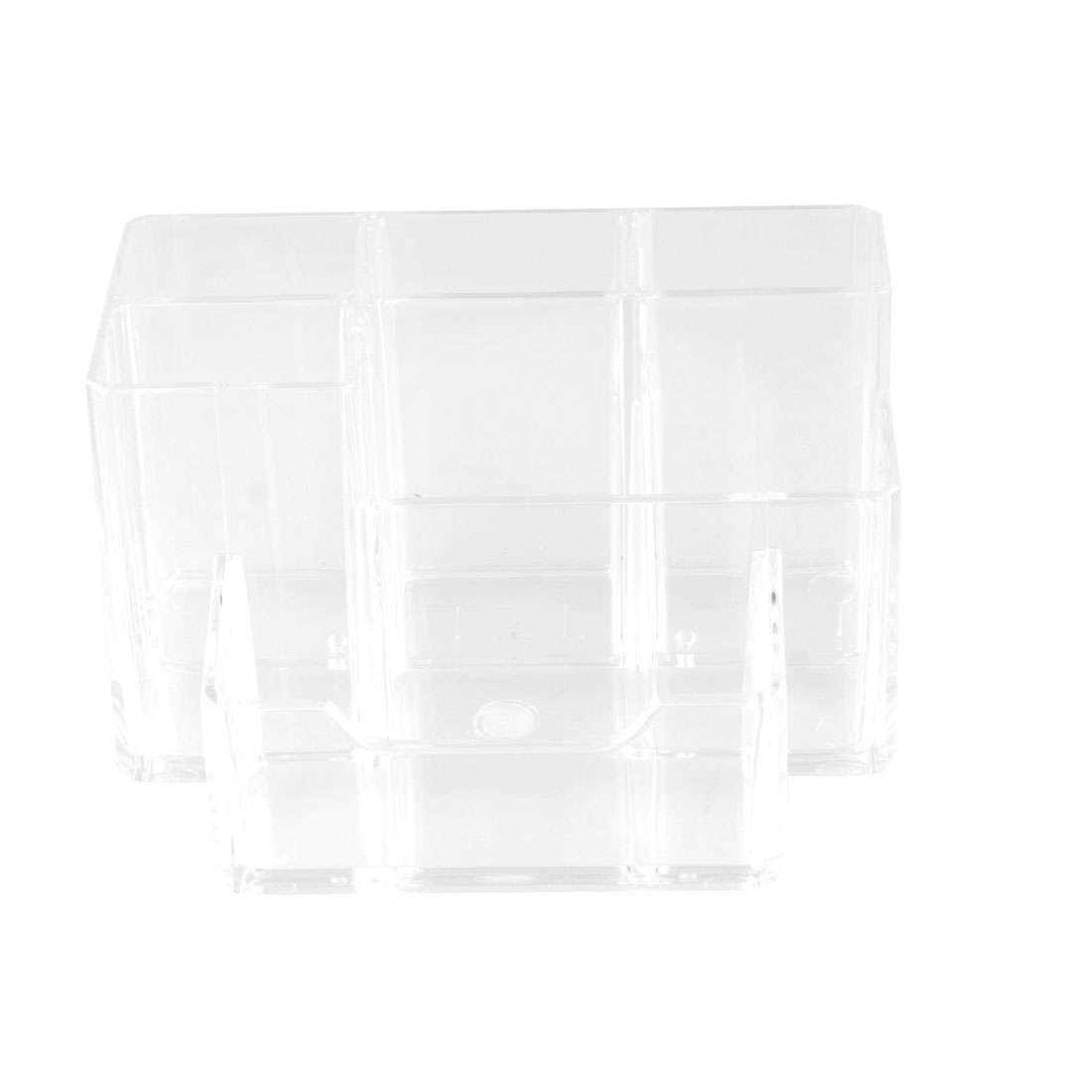 Clear Hard Plastic 6 Sections Muti Function Desk Pen Holder