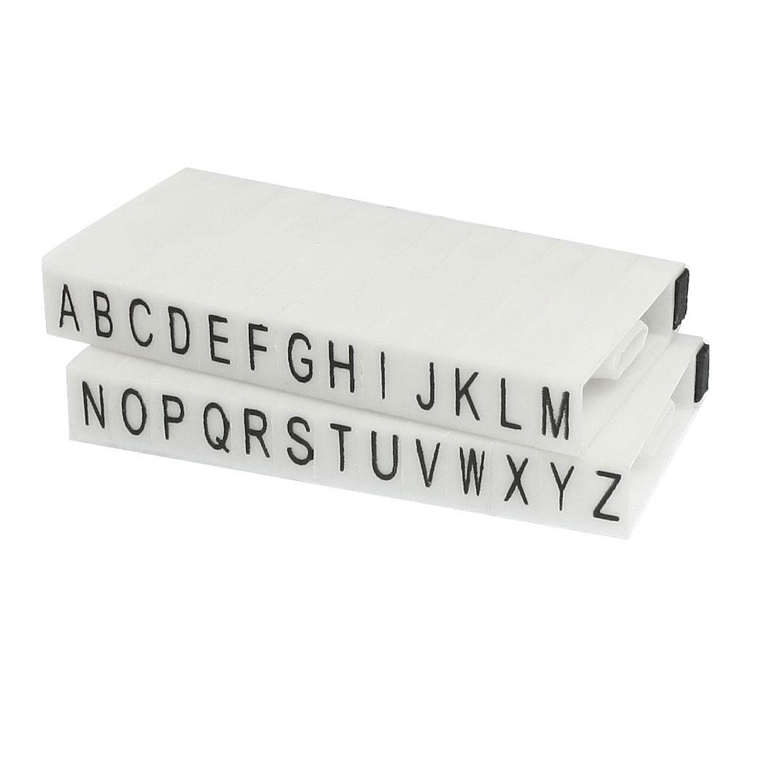 White Plastic 10 x 5mm Detachable 26 Letters Alphabet Stamp