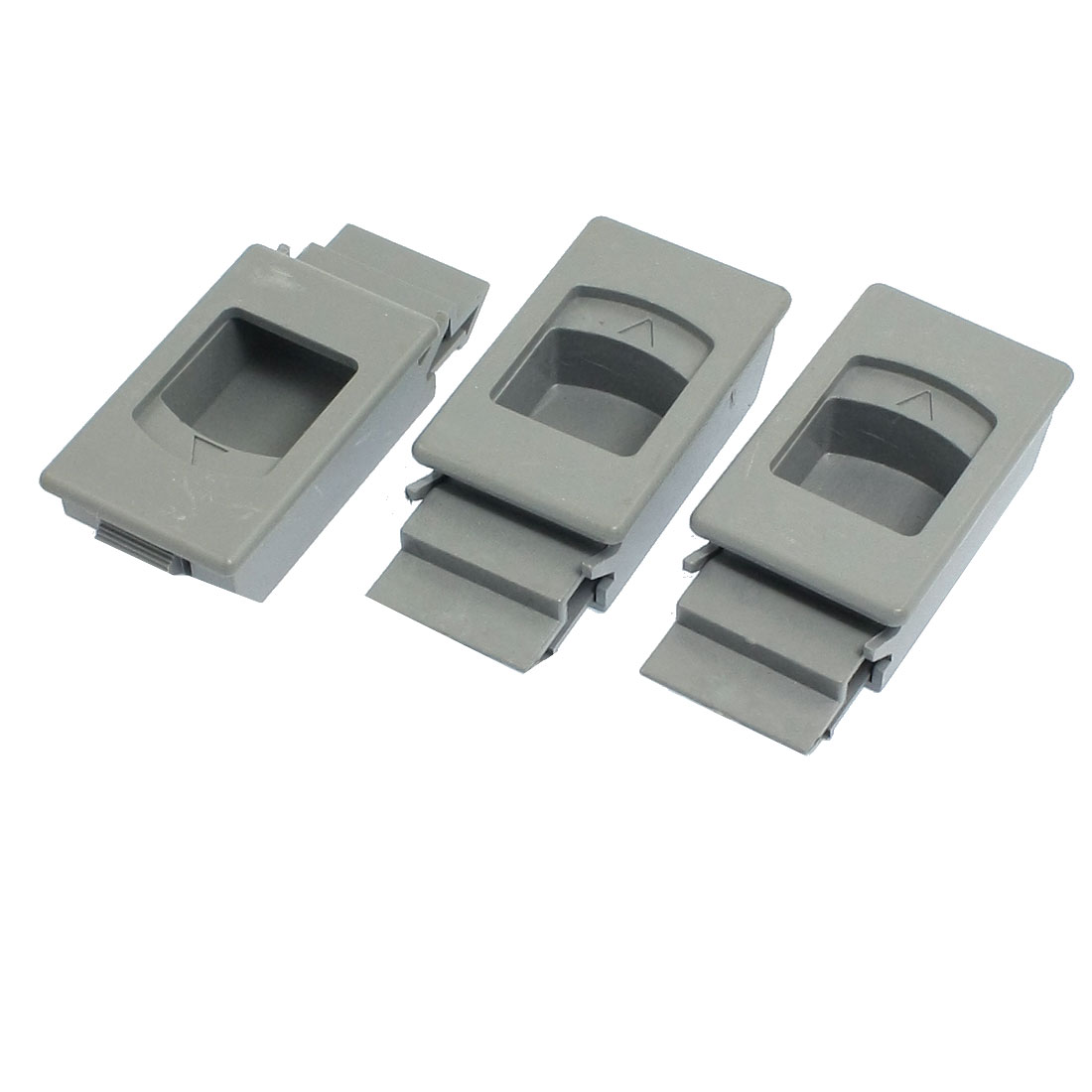 Gray Plastic Inside Pull Rectangle Latch for Cabinets 3 Pcs