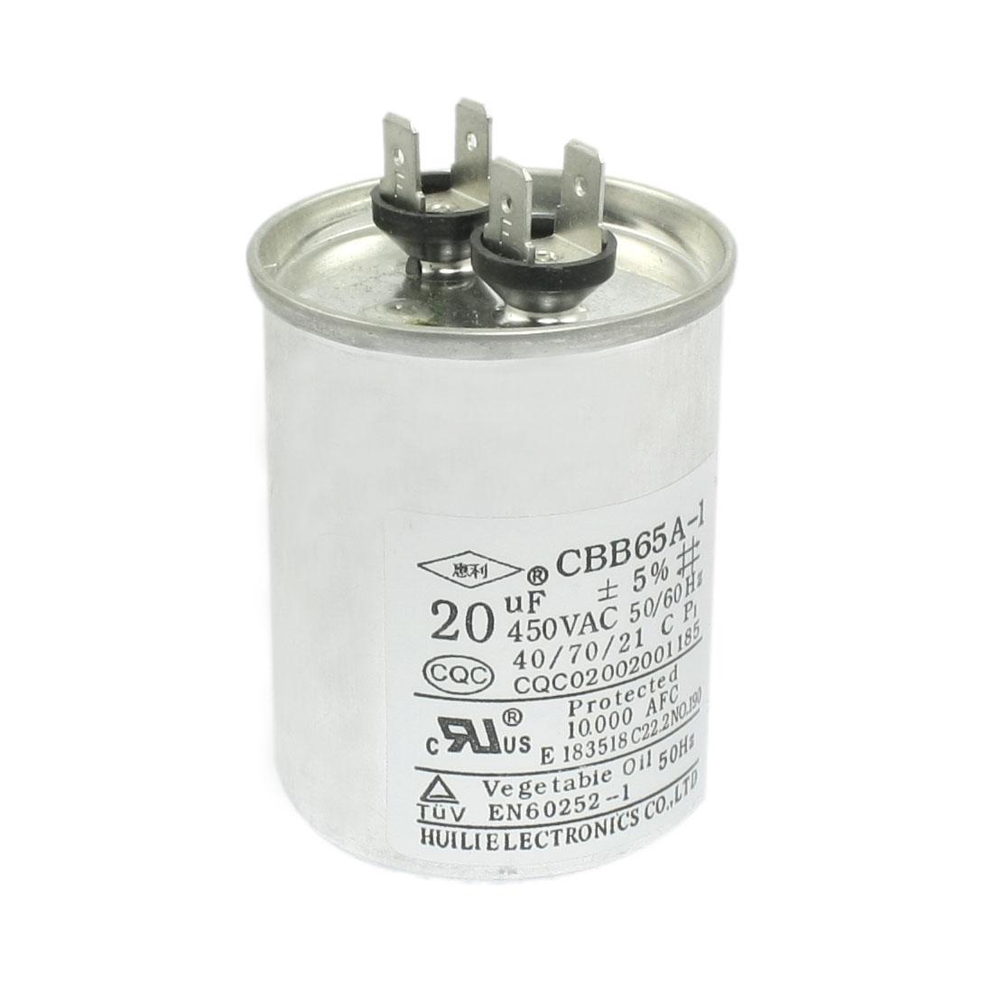 Silver Tone Air Conditioner 20uF 450V AC Polypropylene Film Motor Run Capacitor