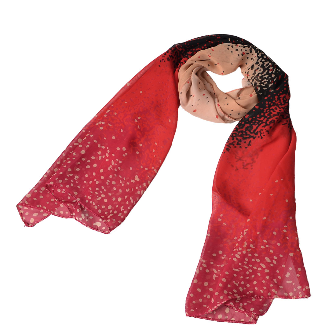 Dot Print Red Chiffon Spring Autumn Rectangle Neck Scarf Bandelet Red Neck Scarves For Women