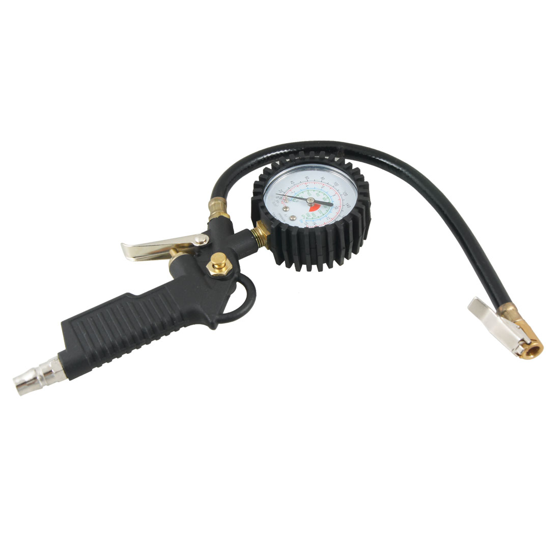 Car Motorcycle Antislip Grip Tyre Tire Inflator w Air Pressure Gauge