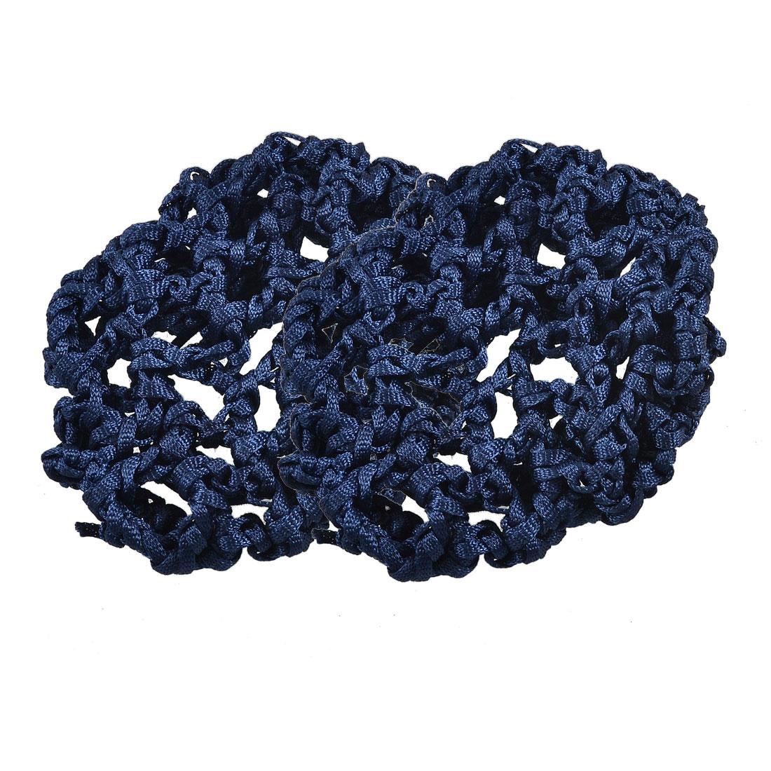Ladies Hair Wear Elastic Band Dark Blue Nylon Snood Net 2 Pcs